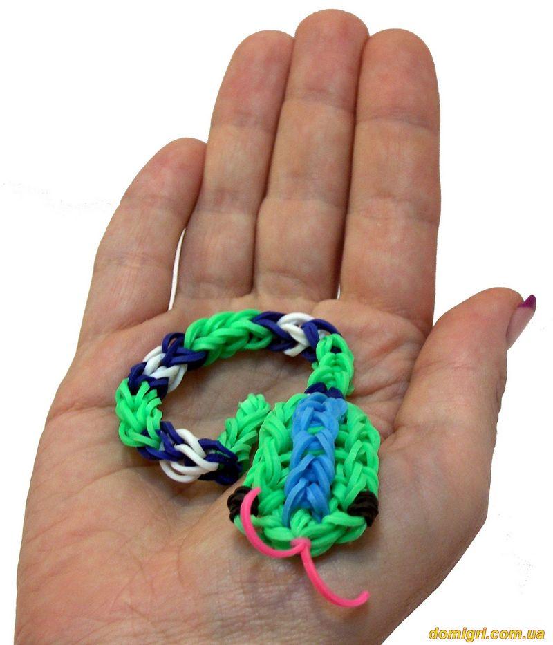 Схема плетения змеи из резинок