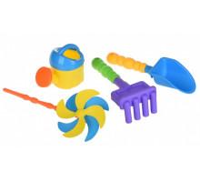 Набор для игры с песком Same Toy с Воздушной вертушкой (желтая лейка) 4 шт HY-1203WUt-2