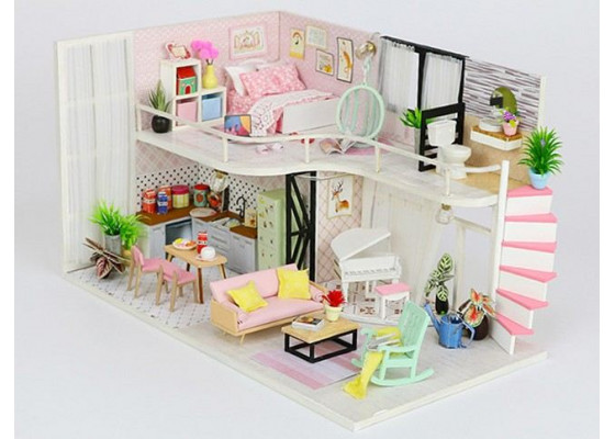 Мини-интерьерная модель DIY House  Anna's pink melidy (M035)