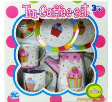 Детский кофейный сервиз Кексик, 6 предметов (S084W Tin kitchen set)