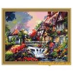 Рисование по номерам - Деревенский пейзаж - Маленький мостик над водопадом (MG009 Идейка)