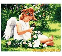 Рисование по номерам - Дети - Ангелочек с бабочкой (MG310 Идейка)
