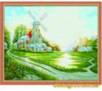 Рисование по номерам - Пейзаж - Пейзаж с мельницей (MG108 Идейка)