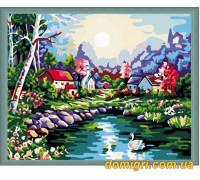 Рисование по номерам - Деревенский пейзаж - Лебединое озеро (MG107 Идейка)