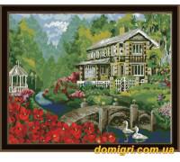 Рисование по номерам - Деревенский пейзаж - Дом у пруда (MG159 Идейка)