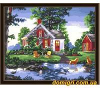 Рисование по номерам - Деревенский пейзаж - Вечер на даче (MG163 Идейка)