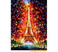 Рисование по номерам - Городской пейзаж - Эйфелева башня в огнях (MG076 Идейка)