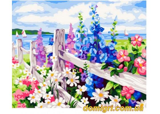 Рисование по номерам - Пейзаж - Цветущая изгородь (MG184 Идейка)
