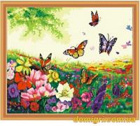 Рисование по номерам - Цветы, фрукты - Цветы и бабочки (MG250 Идейка)