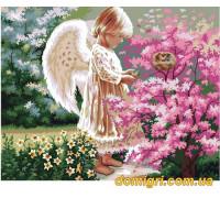 Рисование по номерам - Дети - Ангелочек и птички  (MG1048 Идейка)