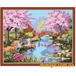 Рисование по номерам - Пейзаж - Сад цветущей сакуры (MG190 Идейка)