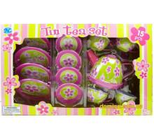 Жестяной чайный сервиз Цветочек, 15 предметов (S053T Tin Tea Set)