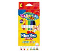 Фломастеры двухсторонние Fibre Pens 6 шт и 6 цветов, Colorino