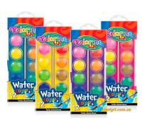Краски акварельные маленькие таблетки, 12 цветов, Colorino