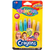 Фарби для обличчя Metallic, 6 олівців, Colorino