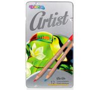 Карандаши цветные в металлической упаковке, серия Artist, 12 цветов, Colorino