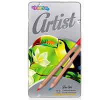 Олівці кольорові в металевій упаковці, серія Artist, 12 кольорів, Colorino