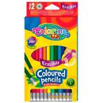 Карандаши цветные шестигранные Erasable с ластиком, 12 цветов, Colorino