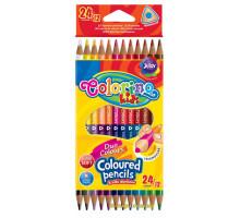 Олівці кольорові двосторонні тригранні (12 штук, 24 кольору), Colorino