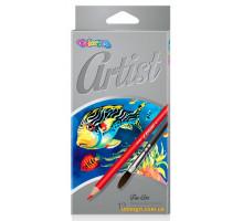 Олівці кольорові акварельні Premium з пензликом, 12 кольорів, Colorino