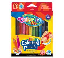 Карандаши цветные трехгранные с точилкой, 10 цветов, Colorino