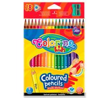 Карандаши цветные треугольные и точилка, 18 цветов, Colorino
