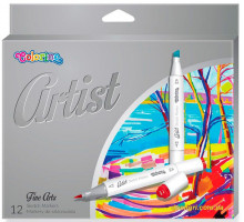 Маркеры трехгранные двухсторонние для эскизов и скетчей, серия Artist, 12 цветов, Colorino