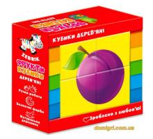 Дерев'яні кубики Фрукти (укр), Vladi Toys