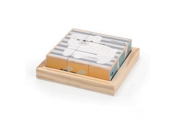 Деревянные кубики-пазл PolarB Зверята Viga Toys