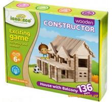 Конструктор Домик с балконом, 136 деталей (Игротеко)