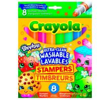 Смываемые фломастеры-штампики Shopkins, 8 шт, Crayola