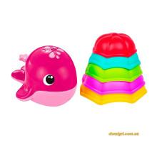 Набор для ванны с фонтанчиками и леечками (малиновый кит), Bebelino