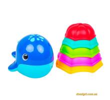 Набір для ванни з фонтанчиками і леечки (синій кит), Bebelino