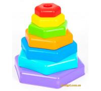 Игрушка развивающая Пирамидка-радуга в коробке, Wader