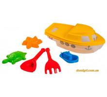 Набір для піску Кораблик, 7 елементів, жовтий, Wader