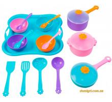 Ромашка, набір столового посуду 19 предметів, з рожевою каструлею, Тигрес