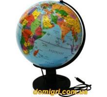 Глобус 260 мм Политический, Лакированный, подсветка, укр. (Институт ПТ)