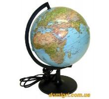 Глобус 260 мм Фізичний/політичний, Лакований, підсвічування, укр. (Інститут ПТ)