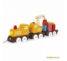 Іграшка-каталка Janod Поїзд на магнітах J08089