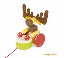 Іграшка-каталка Janod Лось з барабаном J08199