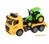 Машинка инерционная Truck Тягач (желтый) с трактором со светом и звуком (98-613AUt-1 Same Toy)