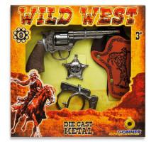 Набор шерифа Дикий Запад (револьвер, кобура, значок, наручники), Gonher