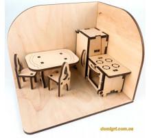 Кухня, комната с меблями, деревянный 3D конструктор, Зирка