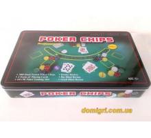 Покерный набор на 300 фишек с номиналом + сукно (жестяная коробка)
