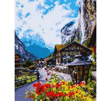 Картина по номерам Цветущая Швейцария 50*60 см